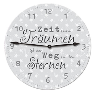 Sprüche Wanduhr ca. 28,5 cm Deko Design Vintage Retro rund analoge Wand Uhr: Farbe: Grau - 1