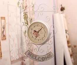 SSBY Vintage Retro clock weiße schmiedeeiserne Willkommen doppelseitige Wanduhr Wanduhr - 1