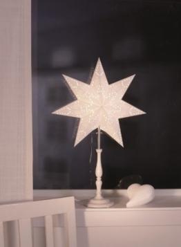 Standleuchte Stehlampe Stehleuchte Sternlampe Stern weiß 55cm Holzfuß - 1