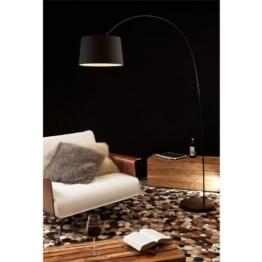 Steh-Lampe dimmbar schwarz mit Standfuß aus Marmor 205x150 cm | Ekon | Steh-Leuchte groß mit Lampenschirm aus Textil | Bogen-Lampe für Wohnzimmer 205cm x 150cm - 1