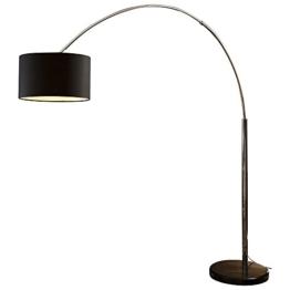 Steh-Lampe dimmbar schwarz mit Standfuß aus Marmor 210x180 cm | Iluma | Steh-Leuchte groß mit Lampenschirm aus Textil | Bogen-Lampe für Wohnzimmer 210cm x 180cm - 1