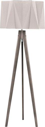 Stehlampe Dreibein Holz Stoff Schirm Grau Beige Creme H 140cm E27 Lampe Skandinavisches Design Stehleuchte Wohnzimmer Flur - 1