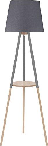 Stehlampe Grau Holz Stoffschirm Skandinavisches Design 148cm 3-beinig E27 Stativleuchte Stehleuchte Standleuchte - 1