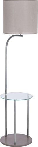 Stehlampe Holz Glas Stoff Schirm Grau Zylinder Chrom H 155cm E27 Deko Wohnzimmer Stehleuchte Standleuchte Standlampe - 1