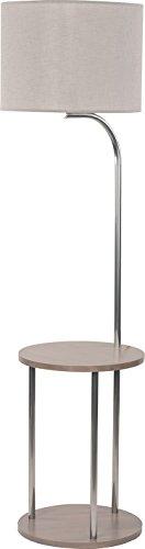 Stehlampe Holz Stoff Schirm Grau Zylinder Chrom H 155cm E27 Deko Wohnzimmer Flur Stehleuchte Standleuchte Standlampe - 1