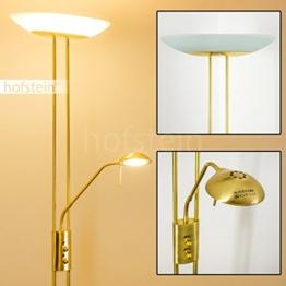 Stehlampe Lucca - Deckenfluter dimmbar LED - Stehlampe Gold mit 1700 Lumen + 480 Lumen und warmweißem Licht - Sehr moderne Wohnzimmerleuchte und Leselampe - 1
