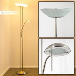 Stehlampe Lucca - Deckenfluter dimmbar LED - Stehlampe Nickel mit 1700 Lumen + 480 Lumen und warmweißem Licht - 1