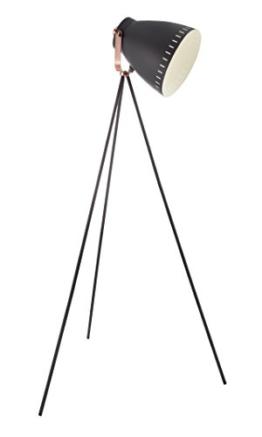 Stehlampe, Stehleuchte, Standleuchte, Standlampe, Bodenlampe, Wohnzimmerlampe, Lampe, Leuchte, schwarz, kupferfarben, Metall - 1