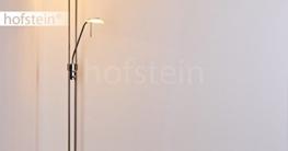 Stehleuchte aus Metall in Nickel matt mit 2 Lampenschirmen – Deckenfluter für Wohnzimmer – Schlafzimmer – Büro – Stehlampe dimmbar – G9-Fassung – R7S-Fassung - Leseleuchte mit Lesearm verstellbar - 3