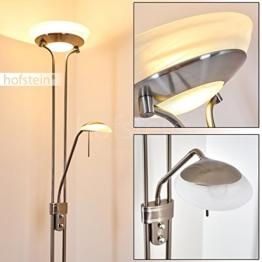 Stehleuchte aus Metall in Nickel matt mit 2 Lampenschirmen – Deckenfluter für Wohnzimmer – Schlafzimmer – Büro – Stehlampe dimmbar – G9-Fassung – R7S-Fassung - Leseleuchte mit Lesearm verstellbar - 1
