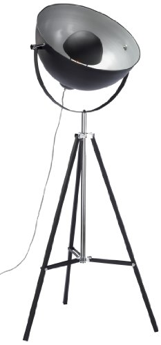 Stehleuchte Bowl Black, moderne Stehlampen, Dreibein Wohnzimmerlampe, Studiolampe E27, Design Stehleuchte schwarz-gold (H/B/T) 160x70x70cm - 1