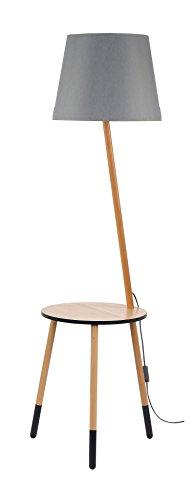 Stehleuchte Dreibein Holz Grau Braun H 152cm E27 Trichter Schirm Stoff Stehlampe skandinavisches Design Wohnzimmer Standleuchte - 1