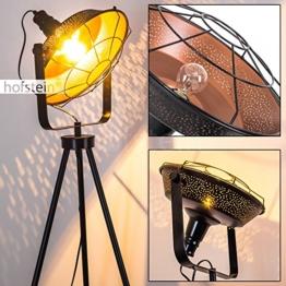 Stehleuchte EIDE aus Metall - Vintage Bodenleuchte - Fluter für Schlafzimmer, Wohnzimmer, Esszimmer - Retro-Standlampe mit großem rundem Lampenschirm wie am Filmset - 1