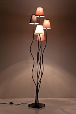 Stehleuchte Flexible Mocca Cinque, Retro Design Stehlampe für das Wohnzimmer, dezente Leselampe, Standleuchte mit bunten Stoffschirmen (Weiß, Schwarz, Braun, Grau), (H/B/T) 163x40x35cm - 1