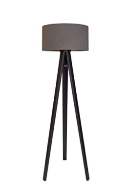 Stehleuchte Jalua F Velours grey & gold mit schwarzem Dreibein aus Holz H: 140cm - 1