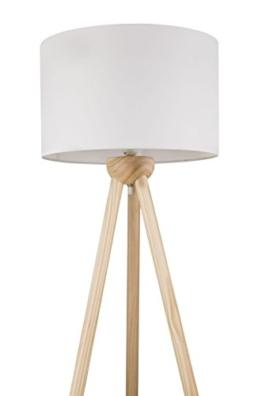 Stehleuchte mit Stoff-Schirm in Weiß Stehlampe Standlampe Holz-Dreibein (Textil-Lampenschirm 40 cm, Höhe 1,45 m, Kabel 1,8 m, Fassung E27) - 1