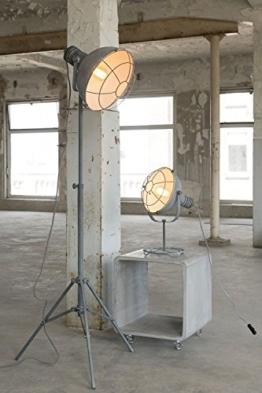 Stehleuchte Stehlampe Industrial Design mit Gitternetz in Grau - 1