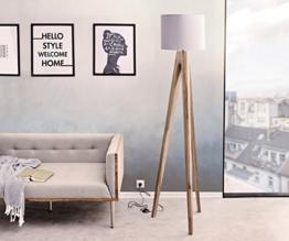 Stehleuchte Wyatt Sheesham Natur drei Beine Schirm Stoff Grau Designer Stehlampe - 1