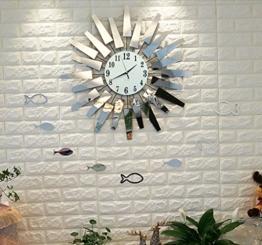 Sunjun Wanduhr Kreativ-Trend Wohnzimmer Wanduhr Metall Glas kreative Kunst Uhren Einfache Mode Wanduhr Moderne europäische stumme hängende Tabelle Quarz Uhr Silber weiß - 1
