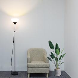Sunllipe Deckenfluter LED Stehlampe 9W, 3000K Warmweiße Standleuchte,Augenfreundliches Licht Stehleuchten Modern für Schlafzimmer, Wohnzimmer - 1,8m,Schwarz [Energieklasse A++] - 1