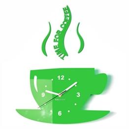 TASSE Time for coffee (Zeit für Kaffee) Moderne Küche Wanduhr grün, 3d römisch, wanduhr deko - 1