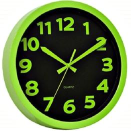 Technoline WT 7420 Moderne, Auffällig Schrille Wanduhr mit Kunststoffrahmen, Ø 25,5 cm, Hell, Plastik, Grün, 25,5 x 4 x 25,5 cm - 1