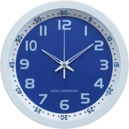 Technoline, WT 8971 Funk-Wanduhr, Ø 30cm, weiß-blau - 1
