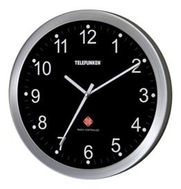 Telefunken FWU-25-B Funk-Wanduhr Funkuhr mit autom. Zeitumstellung Alu Rahmen 25cm Ø schlicht (Schwarzes Ziffernblatt) - 1