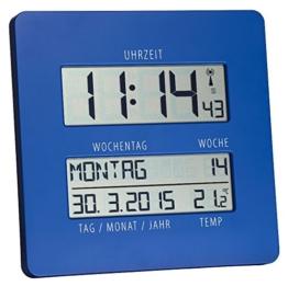 TFA TimeLine Funkuhr mit Temperatur 60.4509.06 blau übersichtliche Anzeige zur einfachen Zeitorientierung mit ausgeschriebenem Wochentag und vollständigem Datum - 1
