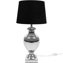 Tischlampe E27 40W H53cm Silber/Schwarz Tischleuchte Stehlampe Stehleuchte Leselampe Leseleuchte - 1