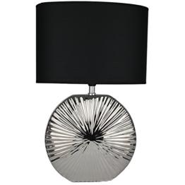 Tischlampe Leuchte 47cm Silber - schwarz | modern Tischleuchte |Leselampe Stehlampe mit schwarzem Stoffschirm | 13304 | Nachttischlampe - 1