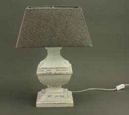 Tischlampe mit Holzfuss weiß Tischleuchte, Lampe, Höhe: ca. 58 cm - 1