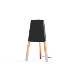 """Tischleuchte """"Lampe auf drei Beinen 50 cm"""", Blechschirm schwarz, Sockenfarbe grau (Textilkabel rot) - 1"""