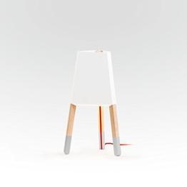 """Tischleuchte """"Lampe auf drei Beinen 50 cm"""", Blechschirm weiß, Sockenfarbe grau (Textilkabel rot) - 1"""