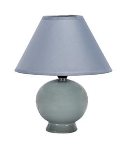 Tischleuchte mit Lampenschirm 24cm E14 40W (Fuß: grau - Schirm: grau) - 1