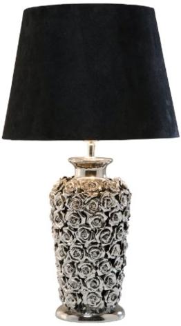 Tischleuchte Rose Multi, Schwarz-Silber, moderne Design Nachttischlampen mit schwenkbarem Stoffschirm, (H/B/T) 56x33x33cm - 1