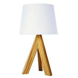 Tischleuchte Tischlampe Lampe Leuchte Dreibein Holzfuss Stoffschirm Ein-/ Aus-Schalter - 1