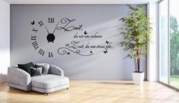 tjapalo® s-tku1-s Wanduhr Wandtattoo Uhr Wohnzimmer Wandsticker Wandaufkleber Spruch - Zeit die wir uns nehmen - mit und ohne schwarzem Metall Uhrwerk (125x58cm(mit schwarzem Uhrwerk)) - 1