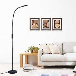Tonffi 9W 500LM Schwanenhals LED Stehlampe mit Fernbedienung dimmbare Touch- Schalten 3000-6000K 360 Grad drehen geeigneit für Wohnzimmer und Lesenzimmer usw (ruhig schwarz) - 1