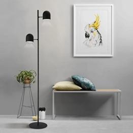 Tonffi Doppelkopf dimmbar Stehlampe LED Standleucht Doppellampen 12W 320LM 5000k Touch-Schalter für Wohnzimmerlampe und Studierzimmerlampe schwarz - 1