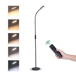 Tonffi Fernbedienung Stehleuchte dimmbar 9W LED mit Touch-Schalter Schwanenhals 360 drehbarem 5 Helligkeitsstufen schwarz - 1