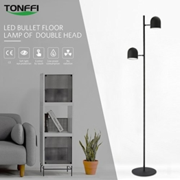 Tonffi Stehlampe Doppelkopf LED Standleucht dimmbar 10W 800LM Touch-Schalter aus Eisen Wohnzimmerlampe schwarz - 1