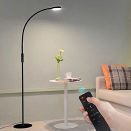 Tonffi® Stehlampe LED dimmbar 9W mit Fernbedienung Leselampe Touch-Schalter 720LM Wohnzimmerlampe Schwanenhals 360°drehbarem blendfrei modern 5 Helligkeitsstufen schwarz - 1