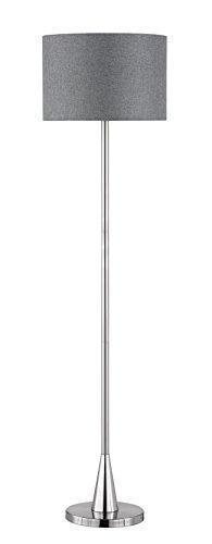Trio Leuchten Stehleuchte Cosinus, nickel matt, Stoffschirm grau 406500107 - 1