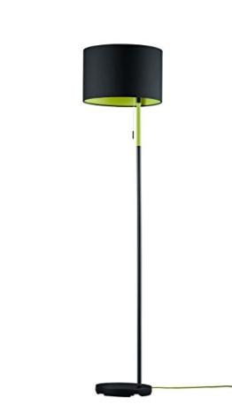 Trio Leuchten Stehleuchte LANDOR in schwarz, Stoffschirm schwarz / innen grün 401400102 - 1