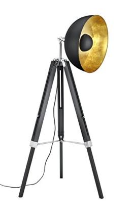 Trio Leuchten Stehleuchte, Metall, E27, Schwarz Matt / Goldfarbig, 80 x 80 x 160 cm - 1