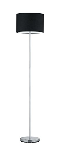 Trio Leuchten Stehleuchte, nickel matt, Stoffschirm schwarz 401100102 - 1