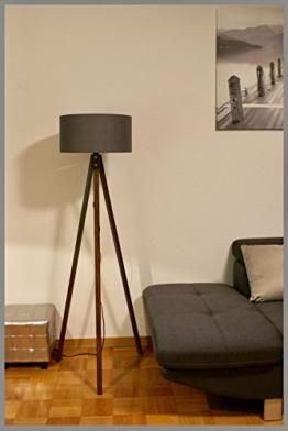 Tripod Lampe Stehlampe Standleuchte Stehleuchte Deckenfluter / gewebter Stoffschirm Grau / Braun / H: 150cm Samarkand-Lights - 1