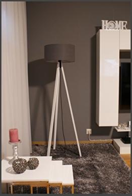 Tripod Lampe Stehlampe Standleuchte Stehleuchte Deckenfluter / gewebter Stoffschirm Grau / Weiß / H: 150cm Samarkand-Lights - 1