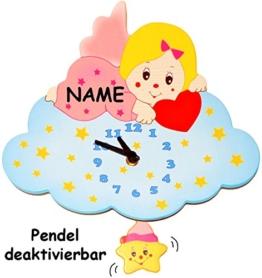 """Uhr aus Holz - """" Engel / Engelchen mit Wolke - rosa / pink """" - Wanduhr - incl. Name - 29 cm groß - sehr leise ! - Pendel abnehmbar - für Kinderzimmer & Wohnzimmer - für Erwachsene & Kinder Jungen Mädchen - Helikopter - Stern Wolken - Aracne - Pendeluhr / Pendelwanduhr - Baby Geburt - Neugeboren - Holzuhr / Kinderuhr - Analog - schleichende Sekunde - 1"""
